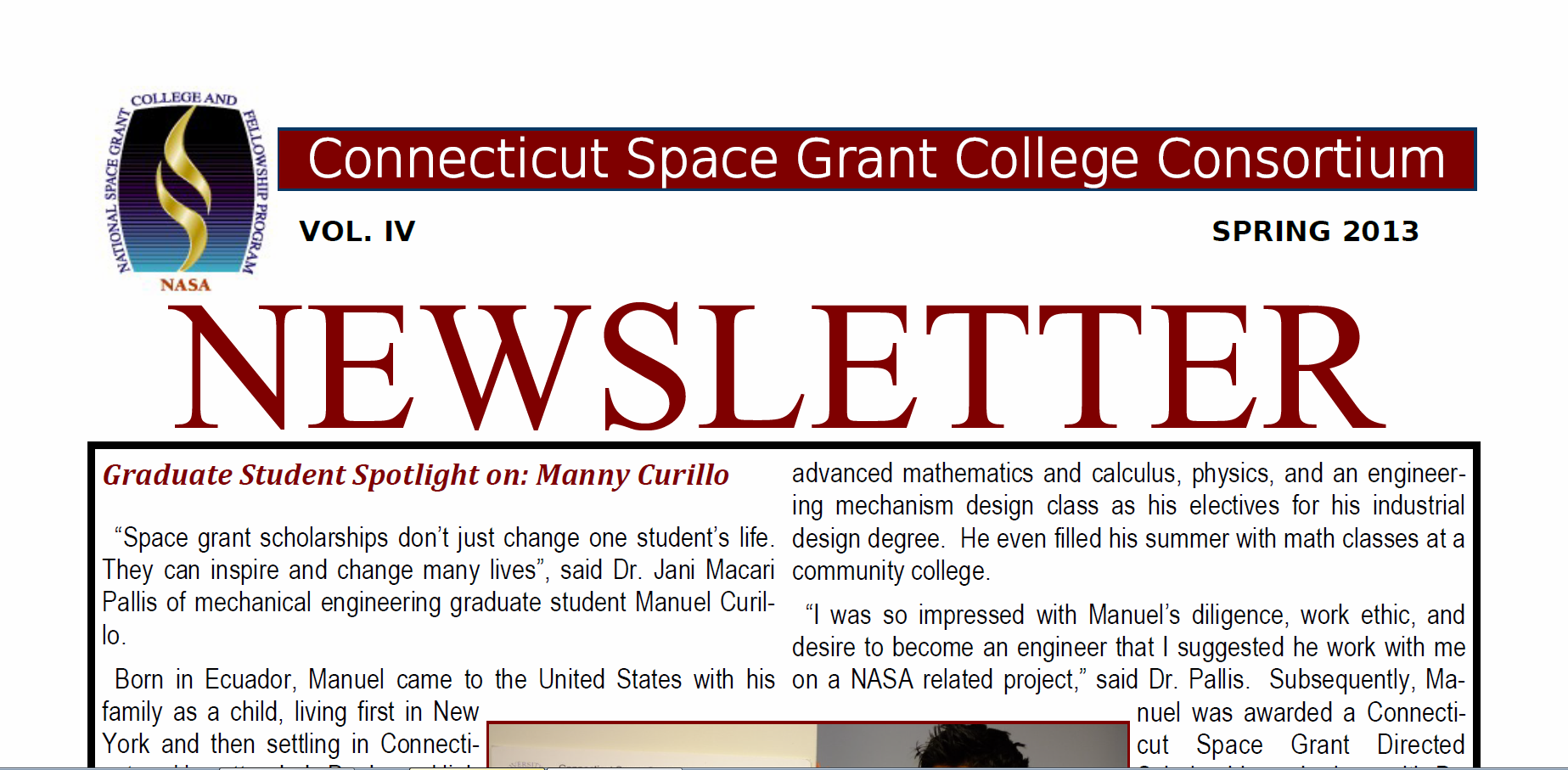 Spring 2013 CT Space Grant Newsletter