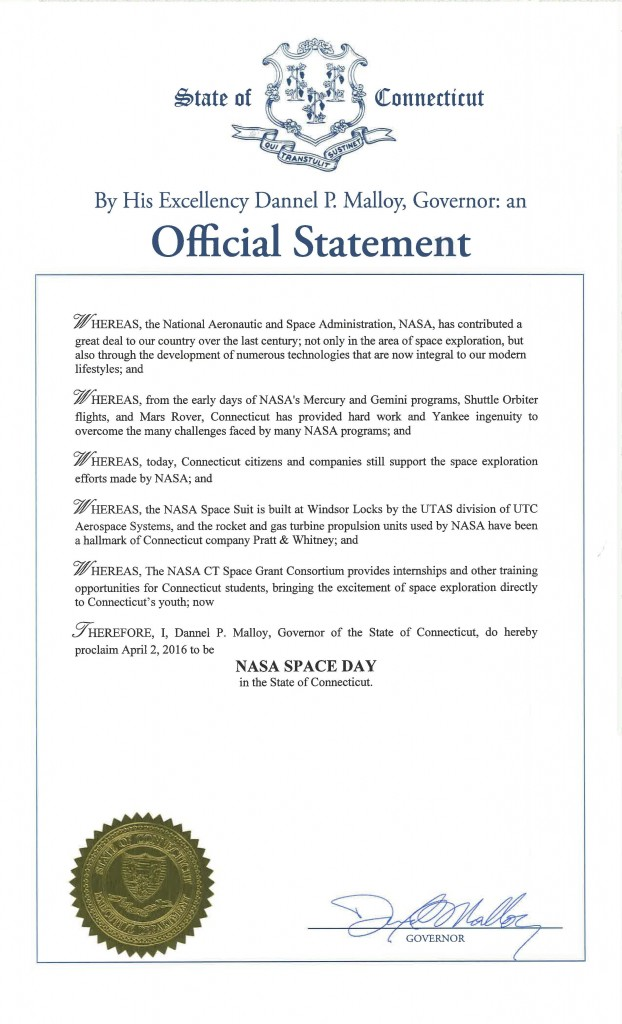 Official Statement  NASA Space Day April 2, 2016